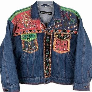 Vintage Whittall & Shon Denim Trucker Jacket Men M